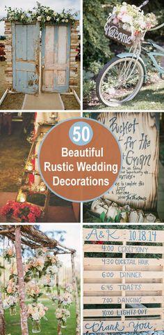 50 Beautiful Rustic Wedding Decorations - May 12 2019 at Rustic Wedding Attire, Rustic Wedding Seating, Rustic Wedding Showers, Rustic Wedding Backdrops, Rustic Wedding Signs, Chic Wedding, Wedding Decorations, Rustic Weddings, Dream Wedding