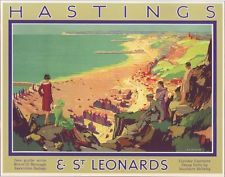 Hastings and St Leonards Kent Vintage Travel Posters, Vintage Ads, Hastings East Sussex, Nostalgia, Tourism Poster, Southern Railways, Railway Posters, Travel Brochure, Vintage Holiday