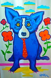 Musings of an Artist's Wife: Shiny Happy Blue Dog