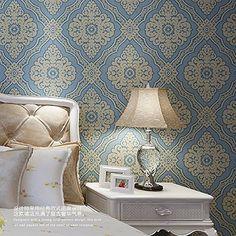 10m Double Roll Luxury Vintage Gergous Classic Beige Square Damask on Blue Background Textured/Flocked Wallpaper PM http://www.amazon.com/dp/B00WB5FMSM/ref=cm_sw_r_pi_dp_8UdJwb14MXBJB