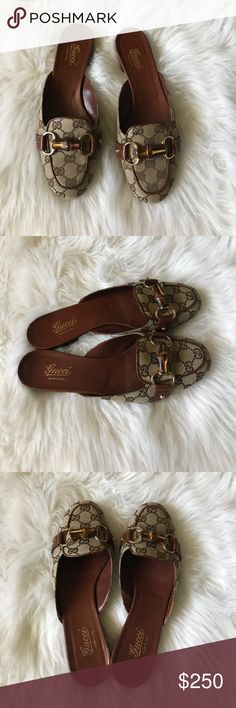 Gucci Mule Slides Gucci Mule Slides in brown. Gorgeous flat shoes perfect for casual wear. Gently worn and in excellent condition. Gucci Shoes Flats & Loafers