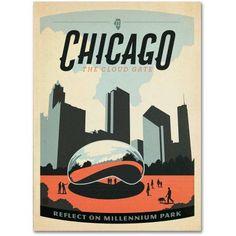 Trademark Fine Art Chicago Cloud Gate Canvas Art by Anderson Design Group, Size: 24 x 32, Multicolor