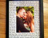 First dance lyrics or wedding vows...so cute!