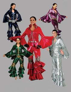 ABBA Style Mamma Mia Disco Costumes.  Click the image to go to our website for descriptions, prices and availability.  All costumes are for sale or rent unless otherwise noted.  We ship worldwide, Monday through Saturday.