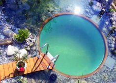 natural swimming pool. No chemicals, no salt.  The water is filtered by plants and pumped back to the swimming area.