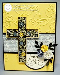 handmade Easter card from Stamping with Julie Gearinger ... yellow and black challenge .. beautiful stamped, colored, cut out and popped cross ... delightful rollled roses with black punched leaves ... Stampin'Up!