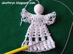U Kathryn : Szydełkowy anioł (wzór)/Crochet angel pattern Crochet Christmas Ornaments, Christmas Crochet Patterns, Holiday Crochet, Crochet Snowflakes, Crochet Angel Pattern, Crochet Angels, Crochet Blanket Patterns, Crochet Blankets, Chunky Crochet