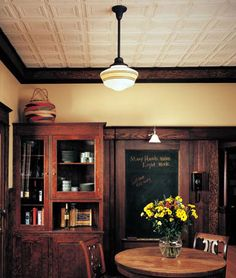 lighting and pressed tin ceiling tiles