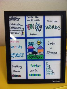 Frame spelling work choices (or any other long term or on-going choices so you don't have to make copies)