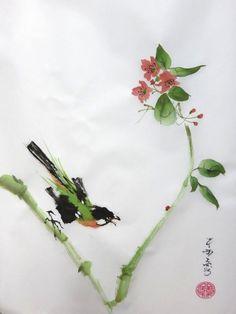 Je t'aurai ! - Peinture,  30x40 cm ©2014 par Abby -                                                              Art figuratif, Papier, Oiseaux, aquarelle, papier de riz, oiseau, peinture chinoise, Xie yi, peinture japonaise
