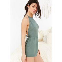 Out From Under Savannah Romper ($39) ❤ liked on Polyvore featuring jumpsuits, rompers, green, halter romper, open-back rompers, white halter top, green romper and halter rompers