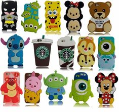 New Cute 3D Cartoon Disney Silicone Rubber Soft Case for iPhone & Samsung Galaxy