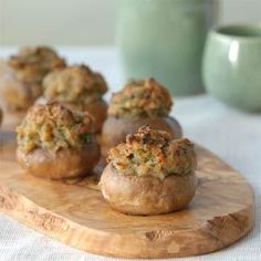 Stuffed mushrooms. This recipe's close to the one I make...but I use way more garlic and some white wine instead of butter and use spicy Italian chicken sausage instead of the clams. Always thought clams would be a great addition though. I'll have to try this one