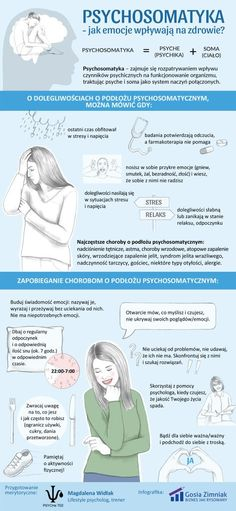 Infografika o psychosomatyce Self Development, Personal Development, Criminology, Coach Me, Psychology Facts, Man Humor, Self Improvement, Good To Know, Health And Beauty
