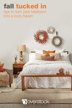 Aside from the layers of warm bedding, changing up your decor is a great way to celebrate the fall season. Use items like throw blankets, decorative pillows, and layered area rugs to tie in the autumn color palette. A soft sheepskin rug is a great way to add warmth to bedside floor space. Give walls the autumn treatment with beautiful wreaths — then use candles to add a welcoming fragrance to the room. Find everything you need to give your home a Fall Decor refresh at Overstock.com.