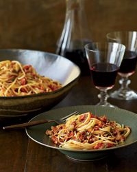 Spaghetti with Fresh Soppressata - Food & Wine. Feels so fancy to skip jarred pasta sauce. Under 500 calories if you use lean turkey sausage. Yum!