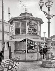 "Circa 1904. ""Street corner merchant in Havana, Cuba."" A sort of gazebodega. 8x10 glass negative, Detroit Publishing Company."