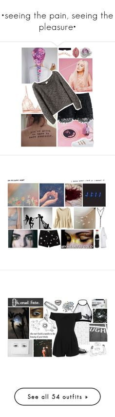 """""""•seeing the pain, seeing the pleasure•"""" by tea-at-five ❤ liked on Polyvore featuring Fleur of England, Chicwish, VPL, 8 Other Reasons, Daum, Lime Crime, adidas Originals, Savannah, Again and Vans"""