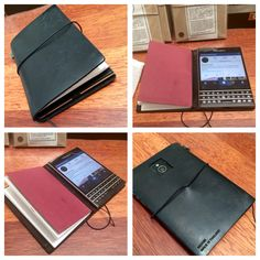Great idea for a leather cover for a passport size Blackberry.  This is a black Midori Travelers Notebook modified. Square has been cut out for the camera lens and then Blackberry stuck to the inside of the back cover.  Perfect fit. Bookbinders Online