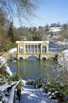 The Palladian Bridge at Prior Park Landscape in Somerset, England during Winter