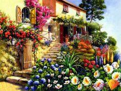 Картина стразами (набор) Алмазная живопись 294 Дом в цветах