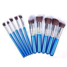 10pcs New Arrival Hot Sapphire Blue Silver Tube Eye Eyeshadow Blending Makeup Brushes Set -- BuyinCoins.com