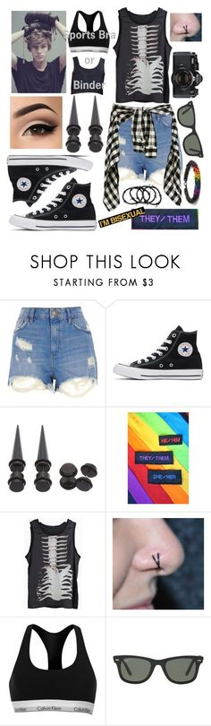 Genderfluid/Agender/Trans Outfit by kitcat01 ❤ liked on Polyvore featuring River Island, Converse, Identity, Calvin Klein, Nikon and Ray-Ban