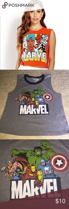 Women's Marvel Comics Muscle Tee Women's Marvel Comics Muscle Tee. Sleeveless Dark/Black collar. Avengers Hulk, Thor, Captain America graphic on front. XL Marvel Tops Muscle Tees