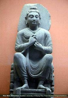 Buddha and attendants, Mathuran style, 1st-early 2nd. Century CE. From Katra Keshavdev, Mathura, Madhya Pradesh, India Kushan period. Red ...