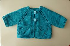 This cute little cardi knits up quickly. I knit my samples in Cascade 220 Superwash and Sirdar Snuggly Baby Care DK using the same size needles.