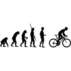 Evolution Rennrad Wiegetritt - Die Evolution der Menschheit vom Affen bis hin zum Rennradfahrer im Wiegetritt um Bergauf zu fahren.