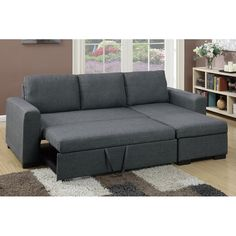 Buy Major-Q Blue Grey Pull-Out Sleeper Sectional Sofa with Storage for Living Room and Bedroom - Best Of Products In The World Small Pull Out Couch, Pull Out Sofa Bed, Grey Sofa Bed, Sectional Sleeper Sofa, Living Room Styles, Comfortable Living Rooms, Living Room Decor Cozy, Sofa Furniture, Wooden Furniture