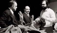 """Francis Ford Coppola, Marlon Brando et James Caan sur le tournage de """"The Godfather"""" 1972."""