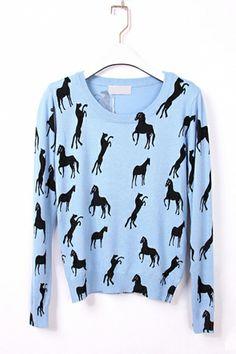 horse print blue sweater