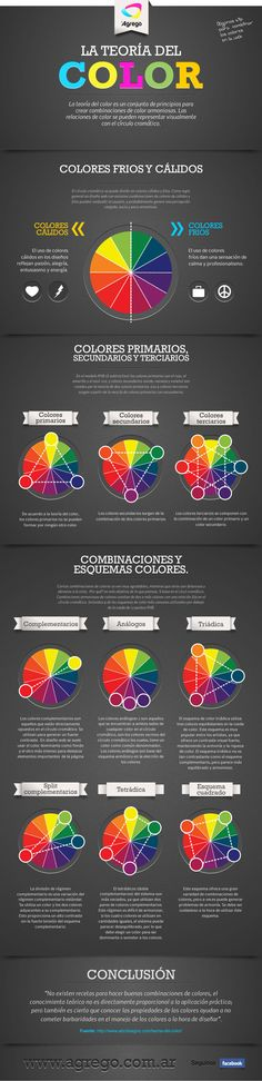 La teoría del color [Infografía]  En la siguiente infografía podemos ver tips muy interesante, sobre todo para diseñadores, con los cuales pueden hacer diseños mucho más acordes a lo que quieran transmitir.