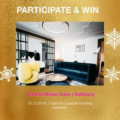 A very cool prize behind window Win 1 night for 2 in our member hotel Arthotel Blaue Gans in Salzburg 1st Night, Salzburg, Contemporary Design, Advent Calendar, Windows, Cool Stuff, Travel, Home Decor, Cool Things