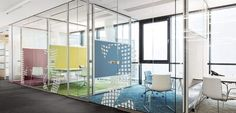 Removable partition / with glass panel R-PLATFORM by Johannes Scherr  Bene