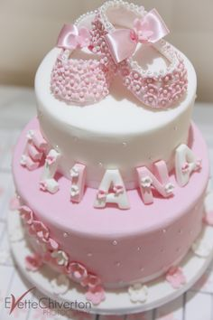 Pink Christening cake, with baby shoes