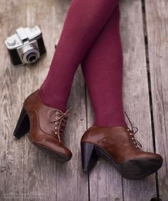 brown oxford pumps and maroon tights