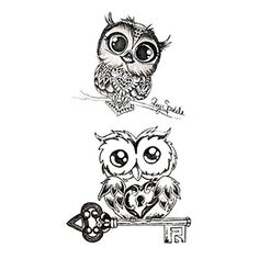 Set of 5 Waterproof Temporary Fake Tattoo Stickers Classic Grey Night Owls Animals Cartoon Design Kids Child * You can find out more details at the link of the image. (This is an affiliate link and I receive a commission for the sales) Temporary Tattoo Paper, Large Temporary Tattoos, Fake Tattoos, Bird Tattoo Men, Tool Tattoo, Tattoo Sticker, Watercolor Hummingbird, Arm Art, Owl Cartoon