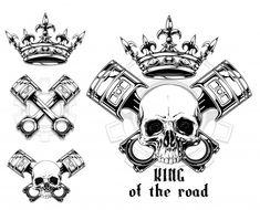 Graphic Human Skull With Crossed Piston And Crown Mechanic Tattoo, Car Vector, Human Skull, Skull Tattoos, Crown, Vector Freepik, Tattos, Prints, Art