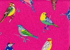 Echino Decoro Birds Japanese Import Cotton Linen Pink