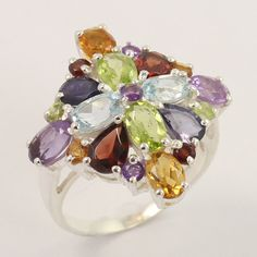 925 Sterling Silver Natural MULTI-COLOR Gemstones Party Wear Ring Size US 7.75 #Unbranded