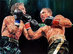 "Juan Manuel Marquez vs Michael Katsidis 18""x24"" oil on canvas by artist John Murawski 