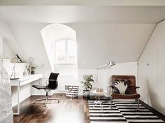 A very cool black and white Swedish home