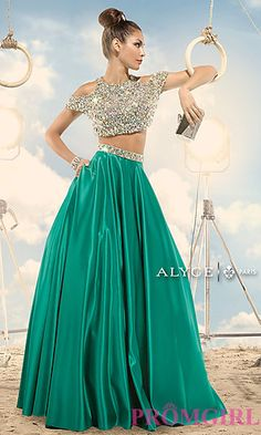 Long Cold Shoulder Two Piece Dress by Alyce at PromGirl.com