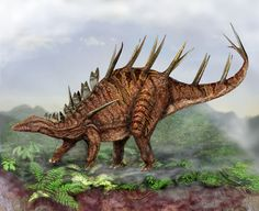 "Art illustration - Dinosaurs - Kentrosaurus: (""reptile sharp point"") is a genus of thyreophorans stegosaurids dinosaurs that lived in the late Jurassic period about 152 million years ago, in the Kimmeridgian, in what is now Africa. its herbivory, Media about four meters long and weighed about 320 kilograms."