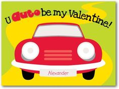 Valentine's Day Cards for Kids Car Craze - Front : Bright Red