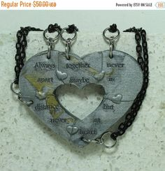 Fall Sale Puzzle Heart Necklaces set of 5 by GirlwithaFrogTattoo
