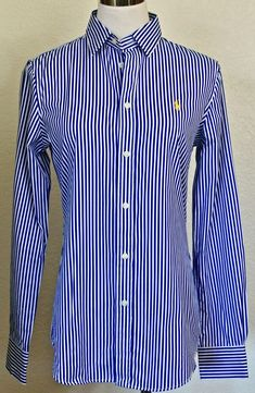 Women/'s Size M Casual Short Sleeve Shirt in Dk Blue Lauren by Ralph Lauren